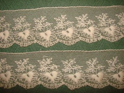 """Antique Embroidered on Net Lace Trim - Yardage - 2 Pieces - 3"""" Wide"""