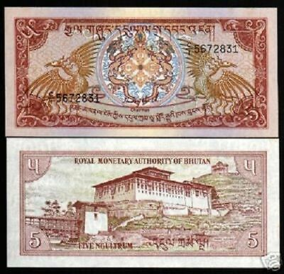 BHUTAN 5 NGULTRUM P14 a 1985 BIRD DZONG UNC ANIMAL MONEY ASIAN BILL BANK NOTE