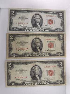 Lot of 11 $2 Legal Tender Notes Two Dollar Red Seal Legal Tender 1953 / 1963 811