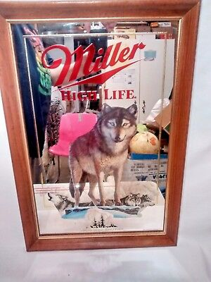 1991 Miller High Life Timber Wolf Wisconsin Mirror 1st Printing Wildlife series
