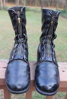 VINTAGE 1970's Black Leather US Air Force Military Boots W/ Shoe Trees- Men's 8R