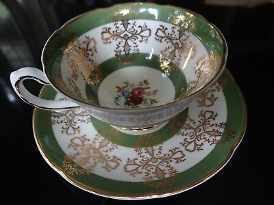 Royal Grafton Footed Cup Saucer Green Bands Gold Filigree Floral England #9259
