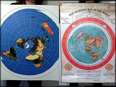 2 Flat Earth Poster Print Deal - Gleasons World Map + Azimuthal USGS Radar Map..