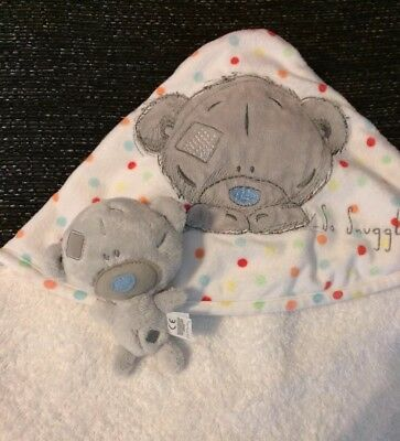 Tiny Tatty Teddy White Hooded Baby Towel with Tiny Tatty Teddy (new)