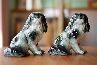 Occupied Japan 2 Porcelain Spaniels Gray/White Excellent Condition