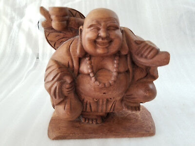 Vintage Hand Carved Wood Laughing Fat Buddha Stands On One Leg Statue Figure