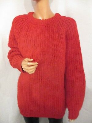 Uk:14/16/18 Vintage Hand Knitted Chunky Red Fleck Wool Fisherman Style Jumper