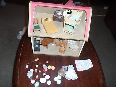 "Sylvanian Families ""cosy""  Cottage With Some Furniture And Figures."