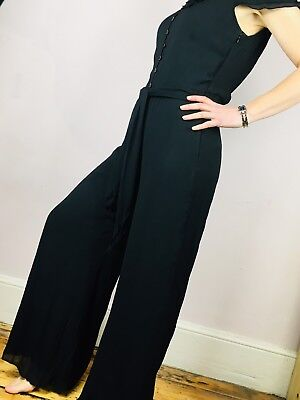 M S Per Una Jumpsuit All In One Black Size 10s Smart Party Occasion Playsuit f0b51b25e3