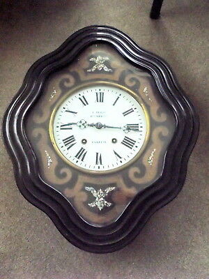 """Antique French Large Vineyard Wall Clock. """" L Durif"""" Ebreuil. 8 Day  & Strike."""