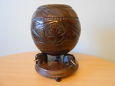 Antique Indian Coconut Wood Elephants Carved Box