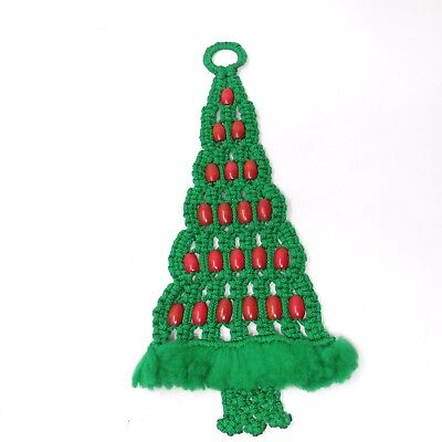 Vintage Boho 1970'S Macrame Christmas Tree Red Beaded Beads WALL HANGING