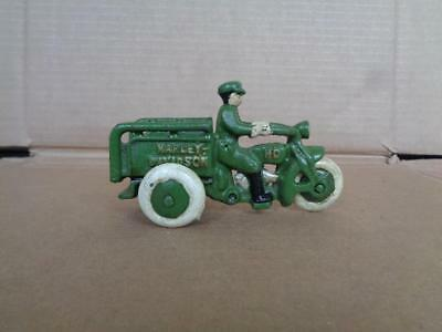 Cast Iron Harley Davidson Crash Car Motorcycle Toy Delivery & Driver