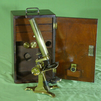 Extremely Rare Microscope Cased Monocular Brass probably Stanley c. 1875