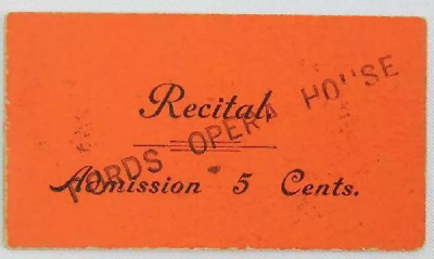 1865-1866 Ticket to Fords Theater/Opera House