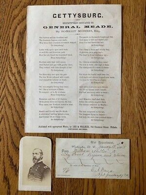 Outstanding General Meade Autograph Pass, Broadside and CDV Collection