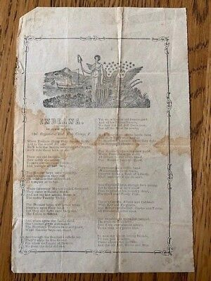 Extremely rare civil war poem/song sheet. INDIANA by James M Bitts