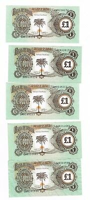 5 x Biafra One Pound Bank notes : Late 1960's