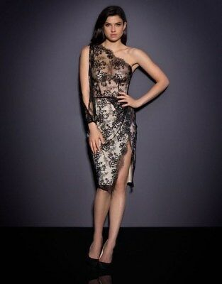fa14f0a0b8 AGENT PROVOCATEUR SOIRÉE Magdelena Dress Black Sheer Lace Slip Gown ...