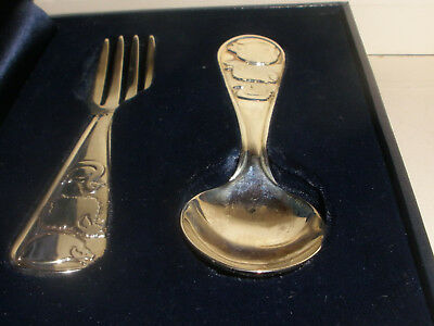 Vintage Tiffany Co Sterling Silver Baby Set Fork & Spoon W/ Sheep Pig And Duck