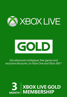 Xbox Live 3 Month Gold Membership for Microsoft Xbox One / Xbox 360