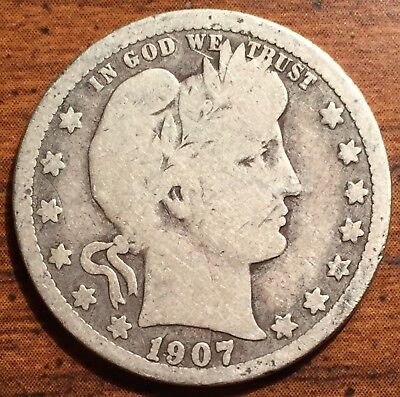 1907 O Silver United States Barber Quarter Dollar Coin New Orleans Mint