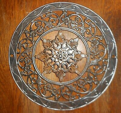 "Antique Cast Iron Round 15"" Heat Grate Stove Pipe Register Cover Ornate"