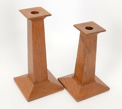 """Authentic Stickley #35 Mission Style Oak Candlestick Holders 7.5"""" And 9"""" Tall"""