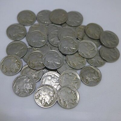 Roll of 40 - Buffalo Nickels -Partial readable dates mixed 1920's and 1930's