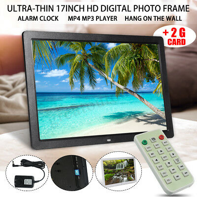 17'' 1080P HD LED Digital Photo Frames Picture Video Movie Player+Remote Control