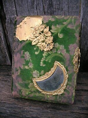 Rare Vintage Old Antique Green Mirrored Velvet and Ornate Brass Photo Album