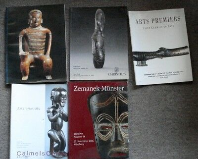5 tribal art auction catalogues;good condition
