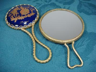 French Limoges Porcelain Hand Mirror & Vintage Magnifying Mirror