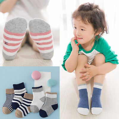 5 Pairs Baby Boy Girls Stripe Cotton Socks Newborn Infant Toddler Kids Soft Sock