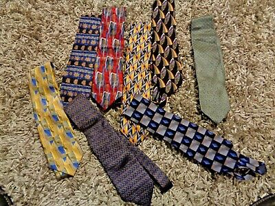LOT OF 8 MEN'S COCKTAIL COLLECTION by STONEHENGE 100% SILK TIE NECKTIES