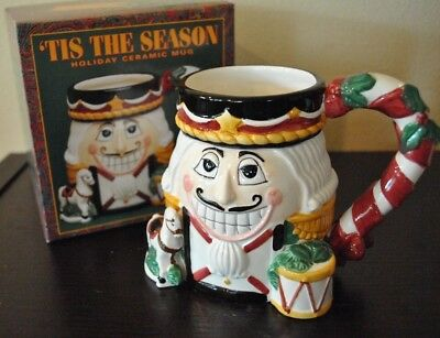 NEW 'TIS the SEASON MUG NUTCRACKER 3D Hand Painted Holiday 18 oz