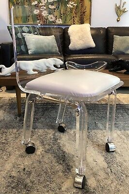 VTG Mid Century Modern LUCITE Backed Vanity Desk Task Dining Chair Seat Casters