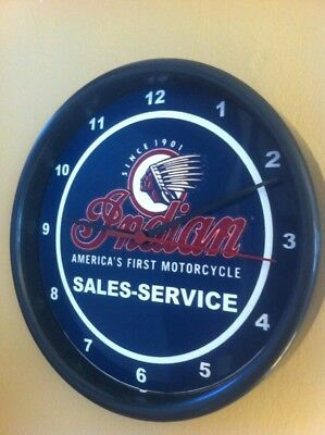 Indian Motorcycle Logo Garage Advertising Man Cave Wall Clock Sign