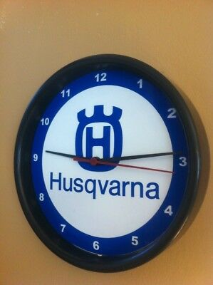 Husqvarna Motorcycle Logo Garage Advertising Man Cave Wall Clock Sign