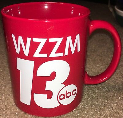 WZZM TV 13 Grand Rapids West Michigan Tea Coffee Cup Mug Red ABC Eyewitness NEWS