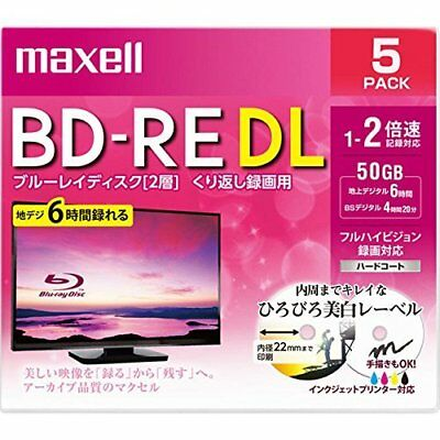 maxell�Eapan-Blank BD-RE DL Blu-ray Discs 50GB 260min whit From japan