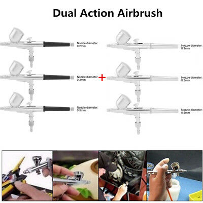 Dual Action Airbrush Set Needle Air Brush Spray Gun Paint Art Craft Tattoo Cake