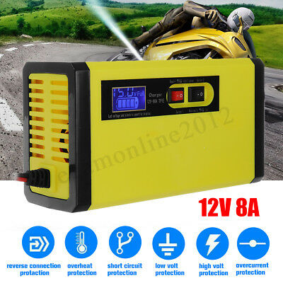 12V 8A LCD Display Battery Charger Pulse Repair For Car Motorcycle Wet Lead Acid