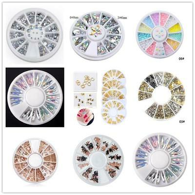 3D Nail Art Rhinestones Studs Tips Stickers Decoration in Wheel Acrylic Manicure