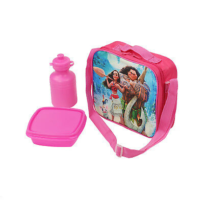 NEW Moana School Shoulder Lunch Box Zipper Bag 3Pcs Set Grils Book Gifts Pink US