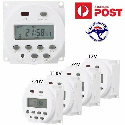 Timer Switch Digital LCD Power Programmable Control Time DC 12V/24V AC 220V AU