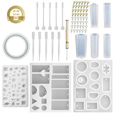 Resin Casting Mold Kit Silicone Mold Making Jewelry Pendant Mould Craft DIY 62pc