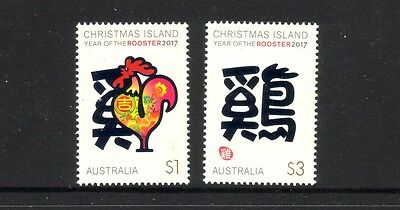 CHRISTMAS IS  2017 Year of the ROOSTER design set of 2 MNH