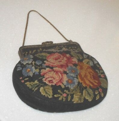 VINTAGE ART DECO 1930's HAND EMBROIDERED NEEDLEPOINT TAPESTRY EVENING BAG