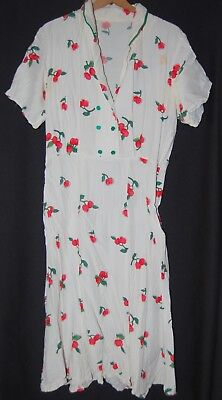 Vintage 50s Cherry Pin Up Dress White Red SS Knee Length Flare Gown Collar L